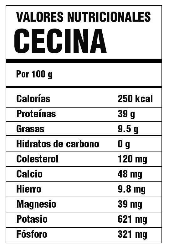 propiedades nutricionales cecina